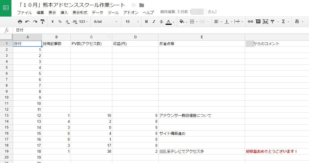 熊本アドセンスコンサルスクールのデータ管理